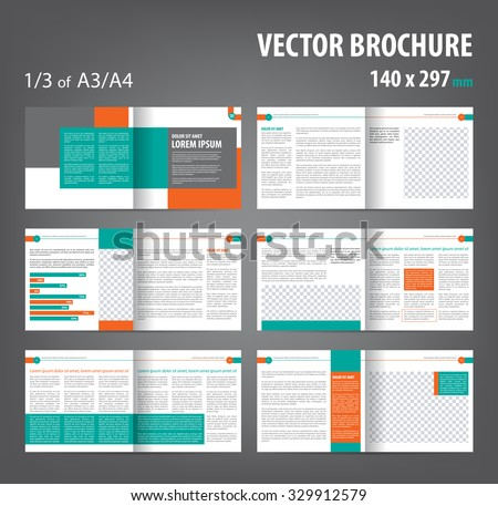 Vector Empty Bi Fold Brochure Print Template Design, Bifold Bright Orange U0026  Green Booklet For Booklet Template