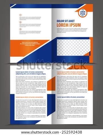 Vector empty bifold brochure design print template - stock vector