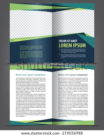 Vector empty bifold brochure print template design with dark and bright elements - stock vector