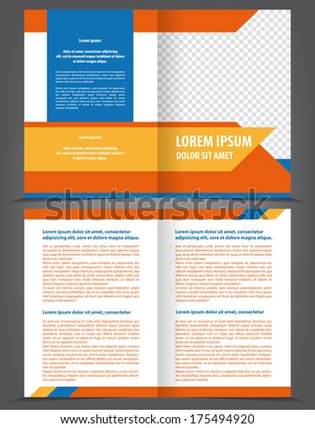Vector empty bifold brochure template design with blue and orange elements - stock vector