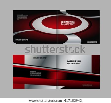 Vector empty bifold red brochure print template design