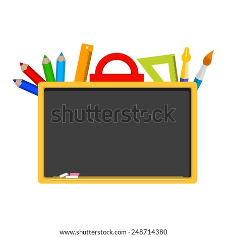 vector empty blackboard, stationery, tools