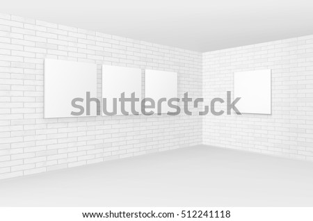 Vector Empty Blank White Mock Up Posters Pictures Frames on Brick Walls with Floor in Gallery