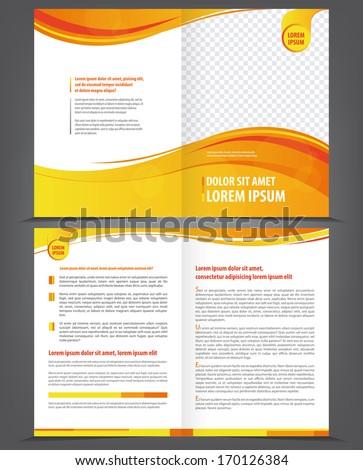 Vector empty brochure template design with orange and yellow elements - stock vector