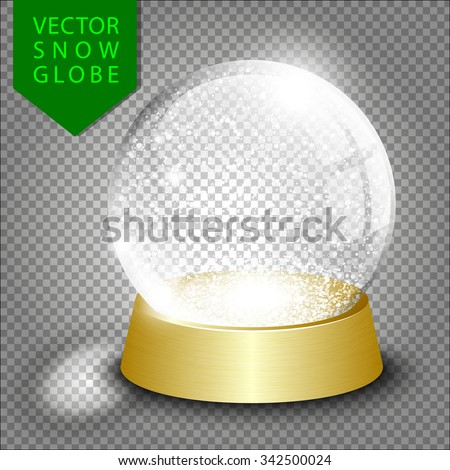 Vector empty christmas snow globe template on transparent background - stock vector