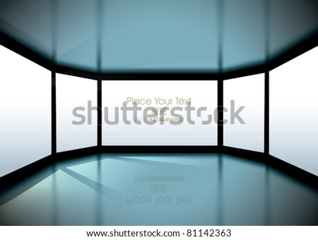 Vector Empty Interior with big windows and Sun rays - stock vector