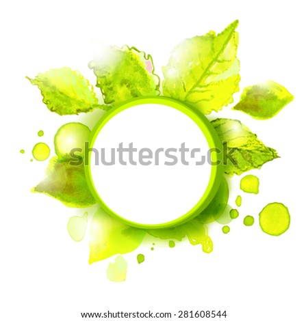 Vector empty label with green summer leaves. Season summer background for outdoor advertising. - stock vector
