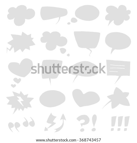 Vector empty light grey speech bubbles collection set isolated on white background.