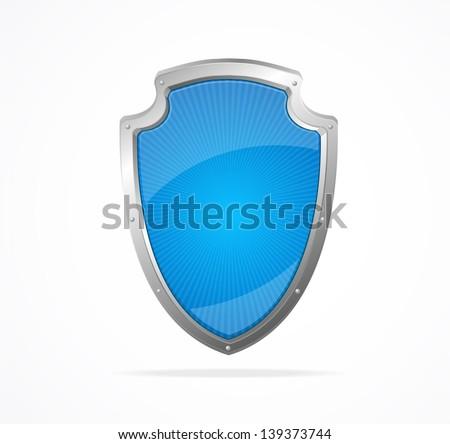 Vector Empty metal shield blue - stock vector