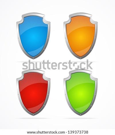 Vector Empty metal shields. P Icons - stock vector