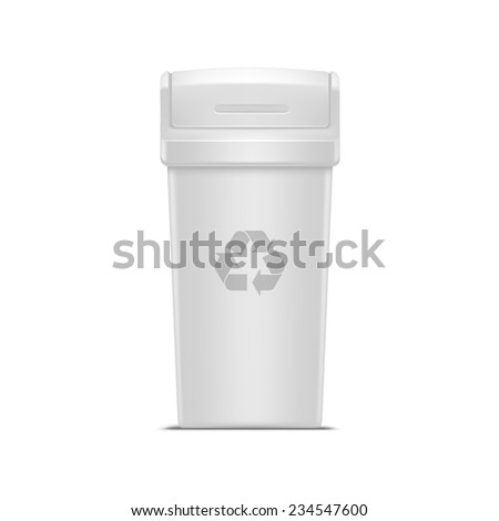 Vector Empty Recycle Bin for Trash and Garbage Isolated on White Background - stock vector