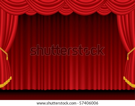 vector empty red stage - stock vector