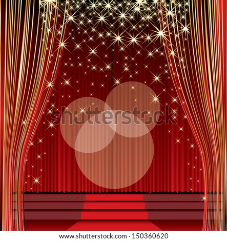 vector empty red stage with falling stars - stock vector