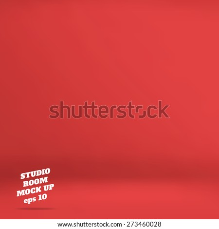 Vector : Empty red studio room background ,Template mock up for display of product,Business backdrop - stock vector