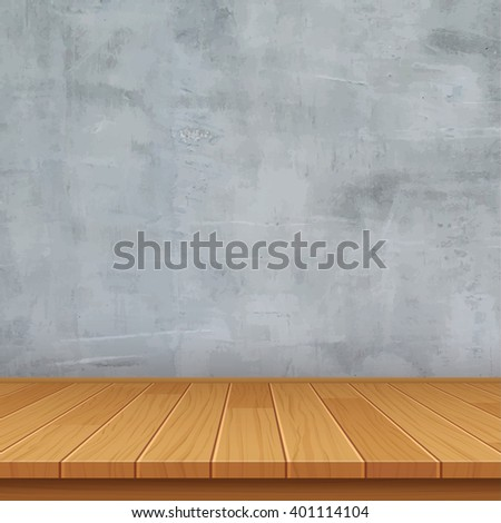 vector empty room with concrete wall and wooden floor - stock vector