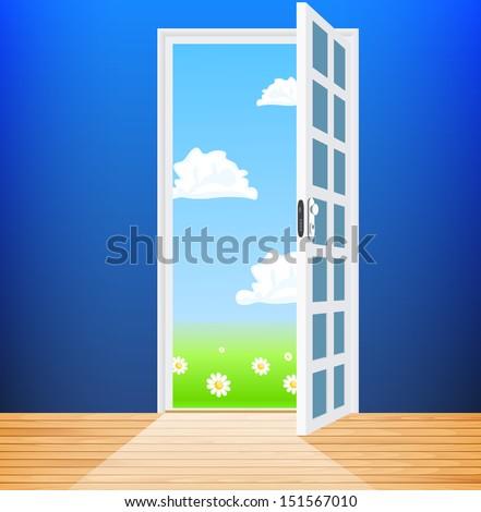 Vector empty room with opened door - stock vector
