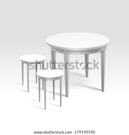 Vector Empty Round Table with Two Chairs Isolated on White Background