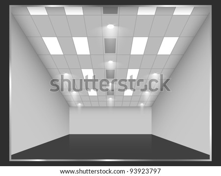 Vector empty shop interior, front view. Part of set. - stock vector