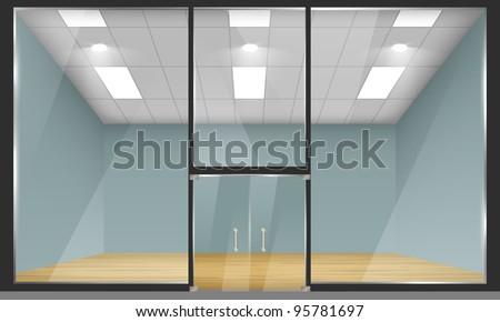 Vector empty shop interior, front view. Part of set. - stock vector