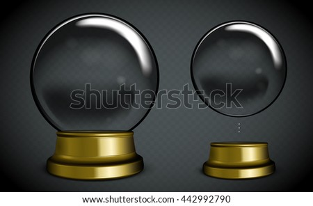 Vector Empty Snow Globe. White transparent glass sphere on a stand with glares and highlights.  - stock vector
