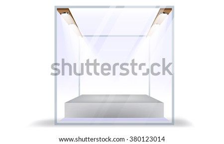 Vector Empty Transparent Glass Box Cube Isolated on White Background. Bulbs with light or beam effect