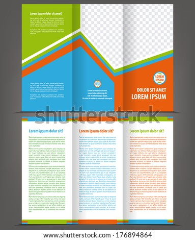 Vector empty trifold brochure print template design - stock vector