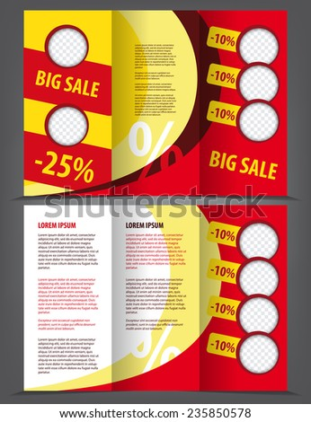 Vector empty trifold brochure print template design, big sale - stock vector