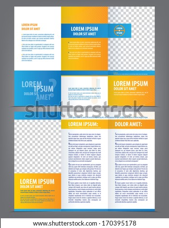 Vector empty trifold brochure template design with blue and orange elements - stock vector