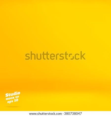 Vector :Empty vivid yellow studio room background ,Template mock up for display of product,Business backdrop.