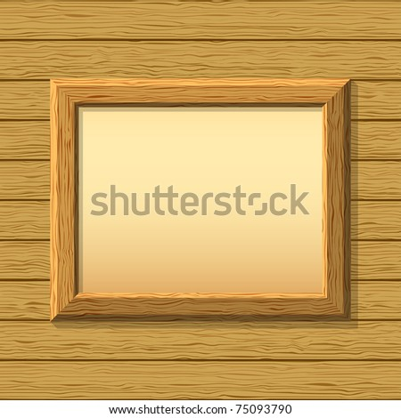 Vector empty wooden frameworks on a board wall. For your images or text