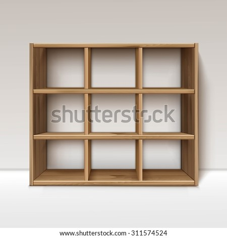 Vector Empty Wooden Wood Shelf Shelves Isolated on Wall Background - stock vector