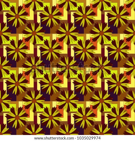Vector endless illustration of orange, yellow and brown flowers. Abstract floral seamless pattern for wallpaper, website or textile printing.