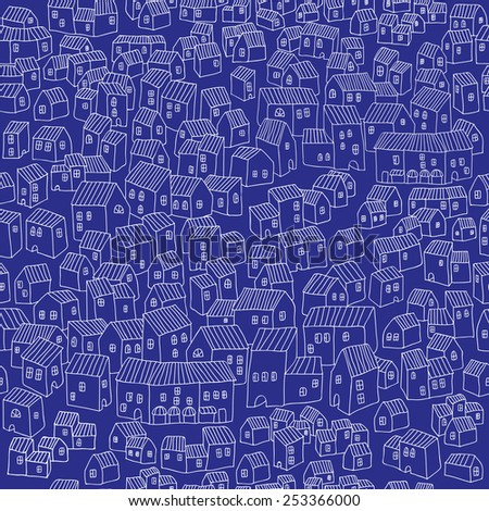 Vector endless pattern wirh little houses at night. little city eps 10 - stock vector