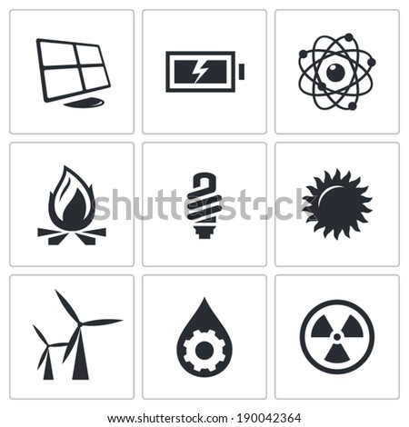 Vector energy icons set - stock vector