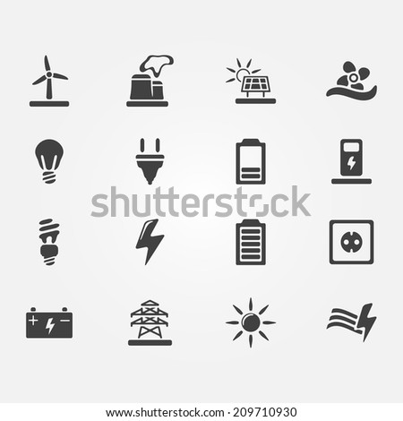 Vector energy icons - set of simple electricity symbols (wind, solar, water power) - stock vector