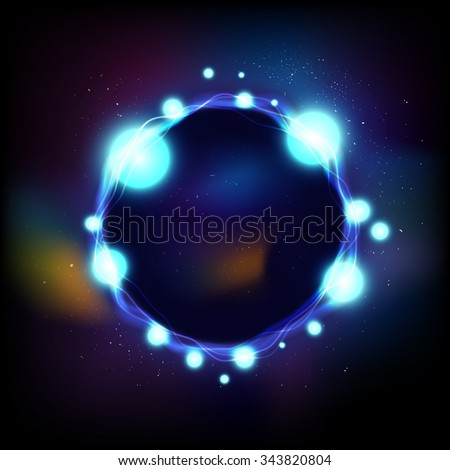 vector energy ring in universe, abstract aura background, black hole - stock vector