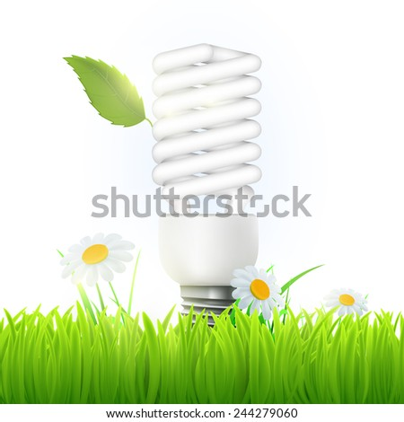 Vector energy saving lamp with green leaf and flowers - stock vector