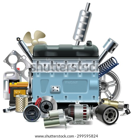 Vector Engine with Car Spares - stock vector