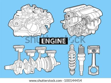 Vector engines - stock vector