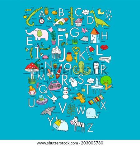Vector English alphabet - stock vector