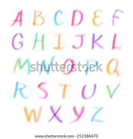 Vector English alphabet - colorful, watercolor, ink on a white background