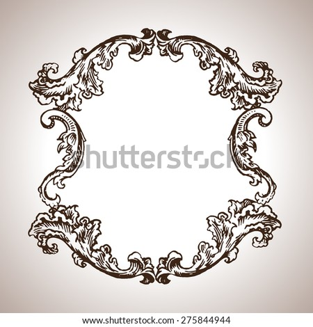 Vector engraving frame in antique style - stock vector