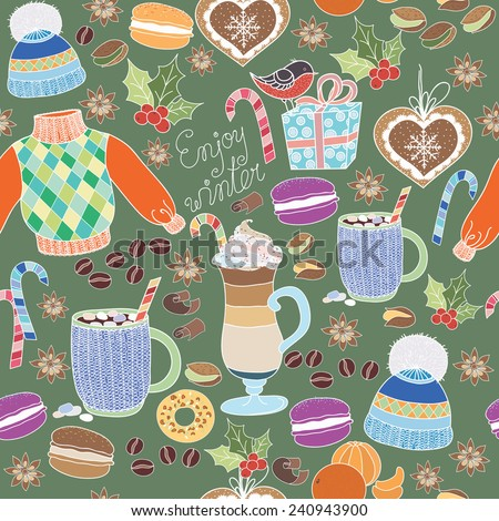 Vector Enjoy Winter collection. Set of winter holidays on colorful background. Seamless pattern with winter clothes, sweets, macaroons, latte, mug coffe and marshmallows. Enjoy Winter pattern. - stock vector
