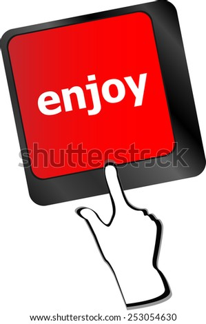 vector enjoy word on keyboard key, notebook computer button - stock vector