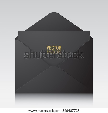 Vector envelope. Black opened envelope isolated on a background. Realistic mockup. - stock vector