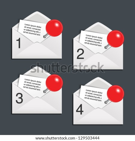 Vector envelope - offer template 4 menu items - stock vector