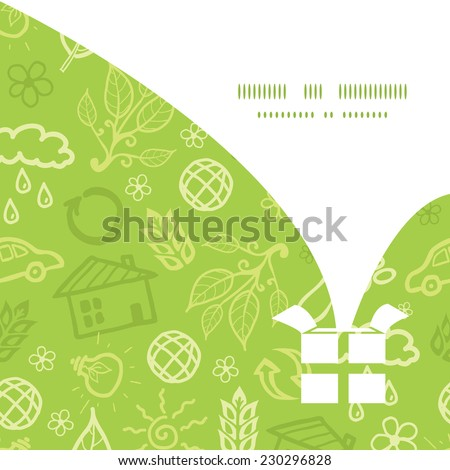 Vector environmental Christmas gift box silhouette pattern frame card template - stock vector