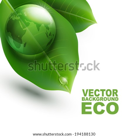 vector environmental element with transparent green ball-globe and leaves on a white background - stock vector