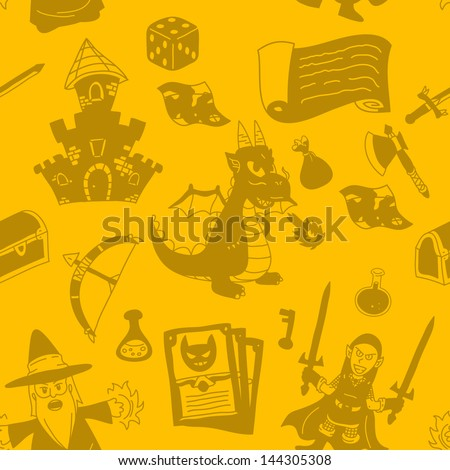 Vector Epic Fantasy Seamless Pattern Background - Graphic elements to embellish your layout. Vector file editable, scalable and easy color change. You can use the background or isolated elements. - stock vector
