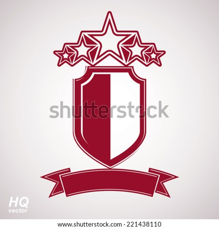 Vector eps8 aristocratic symbol. Festive graphic shield with five stars and curvy ribbon - decorative luxury security template. Corporate branding icon, success concept theme design element.